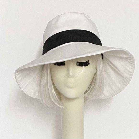 White Black Wide Brim Sun Hat